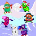 Monsters winter sports this is file of eps format Stock Photo