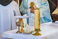 Monstrance - liturgical vessels Royalty Free Stock Photo