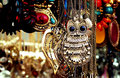 The monstrous owl pendant of a traditional in retro hipster culture for sale in a street side fashion market in bangalore india Royalty Free Stock Photography