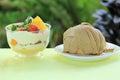 Mont blanc cake and Mix fruit tart