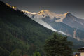 Mont blanc on french side viewed from the town of chamonix Royalty Free Stock Photos