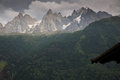Mont blanc on french side viewed from the town of chamonix Royalty Free Stock Image