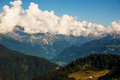 Mont blanc massif covered in white clouds Stock Images