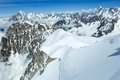 Mont Blanc mountain massif and alpinists groups Royalty Free Stock Photo