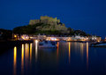 Mont orgueil castle gorey jersey channel islands at night with reflections in the sea Stock Photography