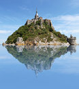 Mont saint michel daytime reflection added Royalty Free Stock Image