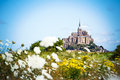 Mont Saint Michel between flowers Royalty Free Stock Photo
