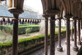 Mont Saint Michel, France - September 8, 2016: Cloister garden i Royalty Free Stock Photo