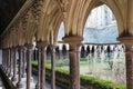 Mont Saint Michel, France - September 8, 2016: Cloister garden i Royalty Free Stock Photo
