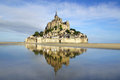 Mont saint michel landscape with abbey normandy france Royalty Free Stock Images