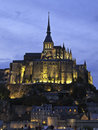 Mont saint michel night time shot of france europe Royalty Free Stock Image