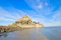 Mont Saint Michel over sea tide , France Royalty Free Stock Images