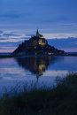 Mont saint michel reflection at sunset high tide Stock Images