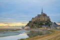 Mont Saint Michel at sunset , France Royalty Free Stock Photo