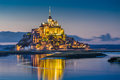 Mont Saint-Michel in twilight at dusk, Normandy, France Royalty Free Stock Photo