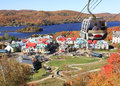 Mont Tremblant Lake, resort and funicular Royalty Free Stock Photo