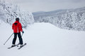 Mont tremblant ski resort quebec canada february a lonely skier is sliding down an easy slope at it is acknowledged Royalty Free Stock Photography