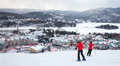 Mont tremblant ski resort quebec canada february skiers are sliding down the main slope at is acknowledged Stock Photography