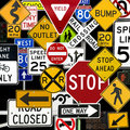 Montage of Numerous Traffic Control Signs Stock Images