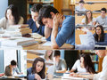 Montage with pictures of students during an exam Stock Images