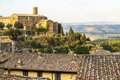 Montalcino tuscany panoramic view of siena italy in a summer evening Royalty Free Stock Photos