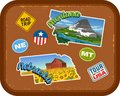 Montana, Nebraska travel stickers with scenic attractions