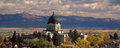 Montana state capitol building in helena with autumn trees and view of big belt mountains across valley Stock Image