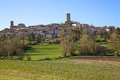Montcuq france skyline view of with the historical th century tower featured prominently in the Stock Image