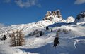 Monte Averau in winter, the highest mountain of the Nuvolau Group in the Dolomites, located in the Province of Belluno. Italy. Royalty Free Stock Photo