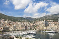 Monte carlo city property monaco french riviera densely packed buildings and luxury yachts in on the Stock Photo