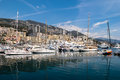 Monte carlo monaco april an assortment of boats and yach yachts in the harbour at on Royalty Free Stock Image