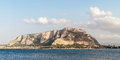 Monte gallo at the bay of mondello near palermo in sicily italy before sunset Stock Photos