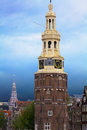 Montelbaans tower center amsterdam and the big beautiful Royalty Free Stock Photo