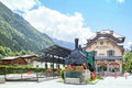 The montenvers railway station and touristic train chamonix france july against massif of mont blanc Royalty Free Stock Image