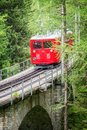 Montenvers touristic red train, going from Chamonix to Mer de Glace, Mont Blanc Massif France Royalty Free Stock Photo