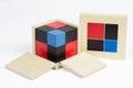 Montessori material binomial cube mathematics sensorial Stock Photos