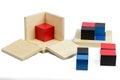 Montessori material binomial cube sensorial mathematics Royalty Free Stock Photo
