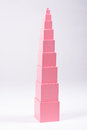 Montessori pink tower sensorial material for elementary education Royalty Free Stock Image