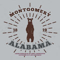 Montgomery, Alabama. t-shirt graphic. Vector