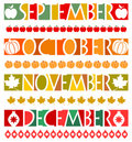Month Banners and Borders/eps Royalty Free Stock Images