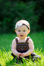 6 Month Old Baby Girl Outdoors Royalty Free Stock Photo