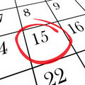 Monthly Calendar - 15th Day Circled Stock Image