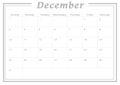 Monthly Calendar December 2017