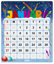 Monthly calendar - January 2 Royalty Free Stock Photo