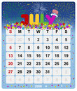 Monthly calendar - July 1 Royalty Free Stock Image