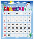 Monthly calendar - March 2 Royalty Free Stock Image