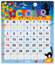 Monthly calendar - October 1 Stock Photo