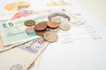 Monthly expenditure budgeting british pound sterling Royalty Free Stock Images