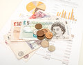 Monthly expenditure budgeting british pound sterling Stock Photo