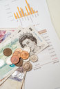 Monthly expenditure budgeting british pound sterling Stock Photography